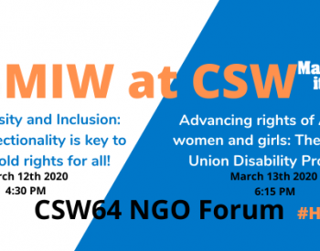 Banner summarizing the 2 events at CSW led by HI, on related to intersectionality on 12th of March and one related to the AU Protocol on persons with disabilities on 13th of March